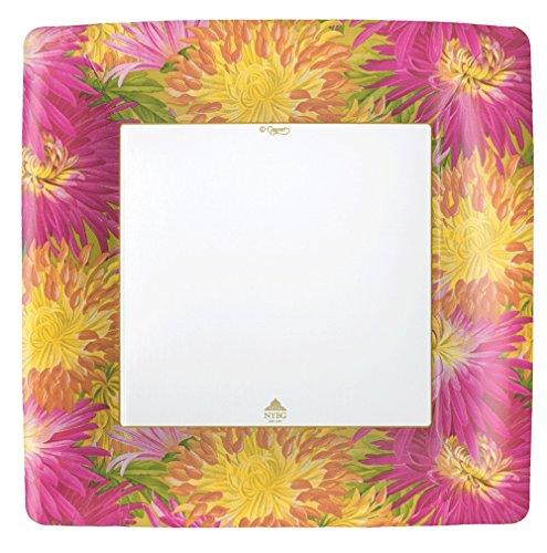 (Entertaining with Caspari Imperial Blossoms Square Salad/Dessert Plates (8 Pack), Pink)