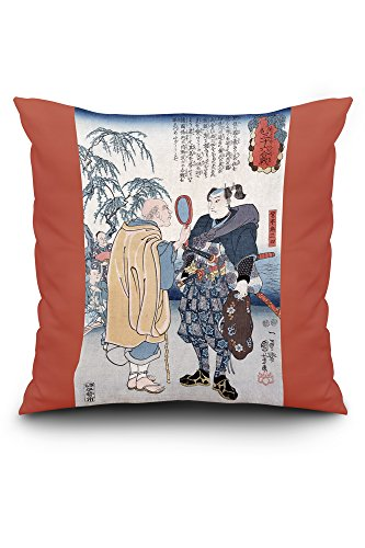 Lantern Press Samurai Miyamoto Musashi - Japanese Wood-Cut (20x20 Spun Polyester Pillow, Square)