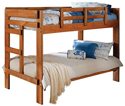 Honey Bed Sleigh Twin (Twin Over Twin Bunk Bed in Honey Finish)