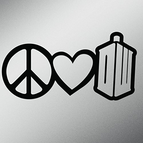Peace Love Doctor Who Vinyl Decal Sticker | Cars Trucks Vans Walls Laptops Cups | Black | 7 X 3.5 Inch | KCD1629B]()