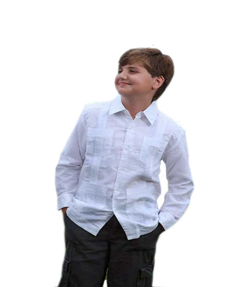 Exquiste Quality Guayabera for Kids Linen 100%. Unique US ! (Size 8-5 Years) White