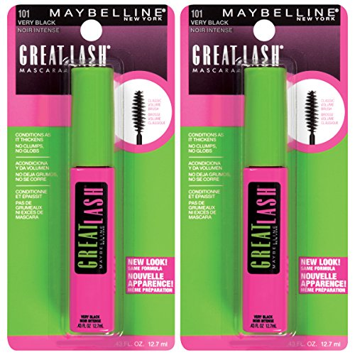 Maybelline New York Great Lash Washable Mascara Makeup, Very Black, 2 Count (Black Maybelline Lash)