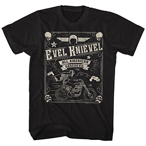 Ptshirt.com-12682-Evel Knievel Men\'s Skulld Border Slim Fit T-shirt Black-B01GUDE07E-T Shirt Design