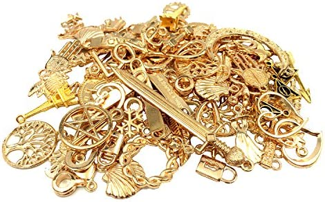 YYaaloa 100g 40-60pcs Gold Mixed Charms Pendants Assorted DIY Antique Charms Pendant Golden -100Gram