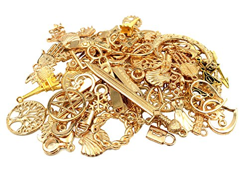 YYaaloa 100g (40-60pcs) Mixed Charms Pendants Assorted DIY Antique Charms Pendant (100g Mixed Gold and KC Gold) ()