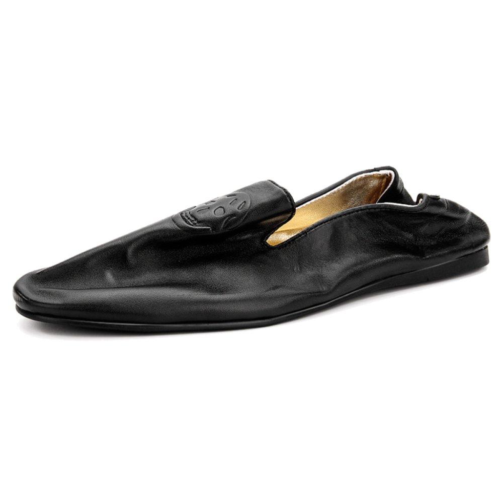 MERRYHE Slip On Boat Shoes For Mens Mocasines Planos Antideslizantes Walking Driving Mocasines Zapato De Cubierta,Black-44 44|Black