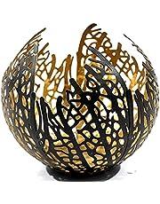 Theelichthouder windlicht in moderne vorm zwart/goud van metaal hoogte 12 cm *creëert leuke lichteffecten*