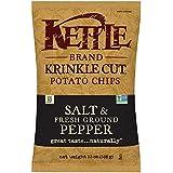 Kettle Brand Cut Potato Chips, Krinkle Cut Salt and Fresh Ground Pepper, 13 Ounce