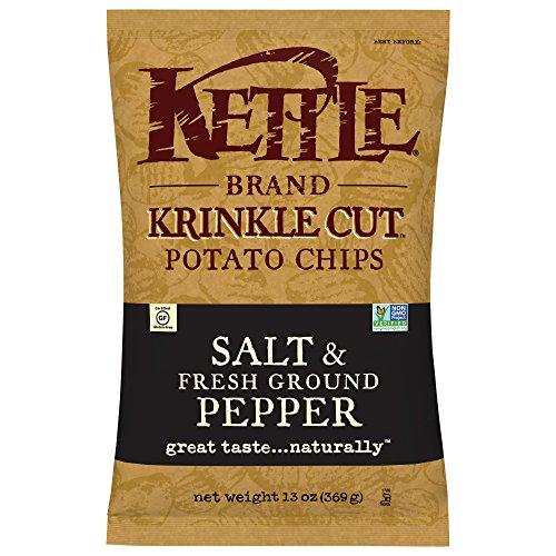 Kettle Brand Potato Chips, Krinkle Cut Salt and Fresh Ground Pepper, 13 Ounce (Pack of 10)