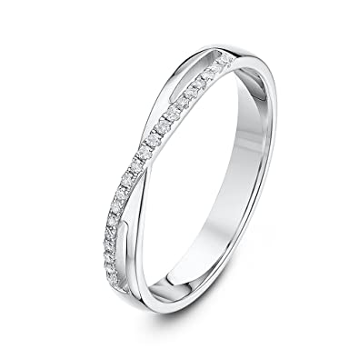 Theia 9ct White Gold Court 0.12ct Round Diamond 4mm Eternity Ring vtPkMLnSA