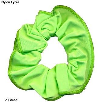 73affd7079bb Shiny Nylon/Lycra hair scrunchie (Flo Green): Amazon.co.uk: Clothing