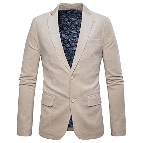 NiuZi Men's Slim Fit Corduroy Blazer Jacket 2 Button Sports Suit