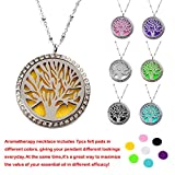 """M.JVisun Wishing Tree Wearable Diamond Essential Oil Diffuser Necklace, Stainless Steel, 24"""" Chain+7 Pads"""