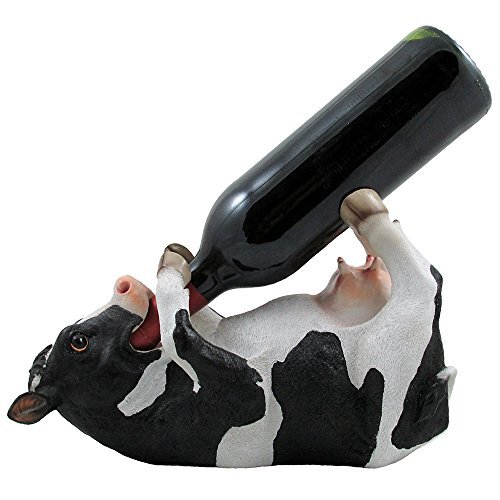 - Drinking Cow Wine Bottle Holder Statue in Country Farm Kitchen Bar Decor Wine Stands & Racks and Decorative Animal Sculpture Gifts for Farmers