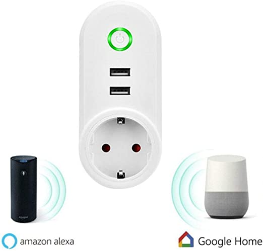 Presa Intelligente con Due USB 2,1A,Wifi Smart Plug Smart Socket Controllo Remoto via Andriod iOS APP Comaptibile con  Alexa,Google Assistant,Google Home e IFTTT Funzione Timer