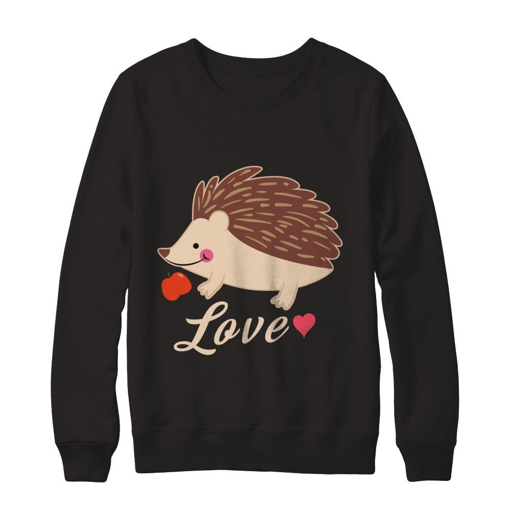 Teely Shop Mens Womans Cute Hedgehog Love Love Animal Gildan Pullover Sweatshirt