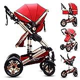 MoreChange Baby Lightweight Stroller Travel System Bassinet Pushchair Folding Pro Waterproof (Red)
