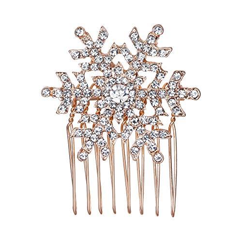 EVER FAITH Winter Snowflake Hair Side Comb Clear Austrian Crystal Rose Gold-Tone