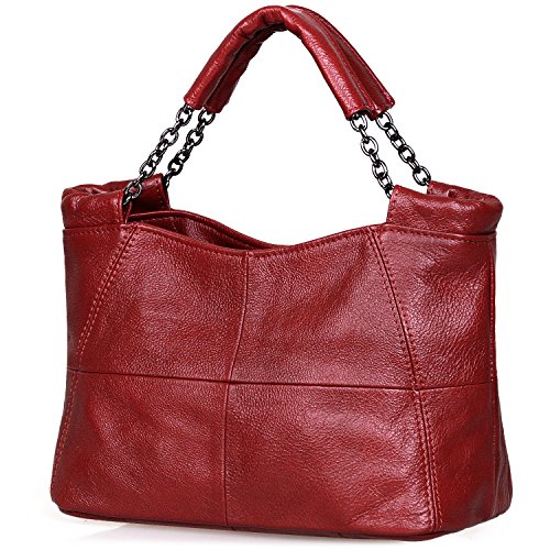 Jack&Chris Splicing Satchel Crossbody Bags for Women Leather Top Handle Handbags, WB503 (Red)