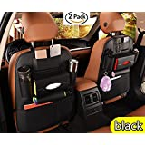 2Pack PU Leather Premium Car Seat Back Organizer Travel Accessories, Car Seat Back Organizer Seat Protector/Kick mats Back seat Protector and iPad Mini Cup Holder Holder,Universal Use Seat Covers (Black)