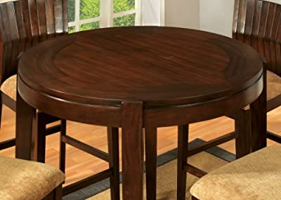 Furniture of America Wenchell 5-Piece Round Dining Table Set, Walnut Finish