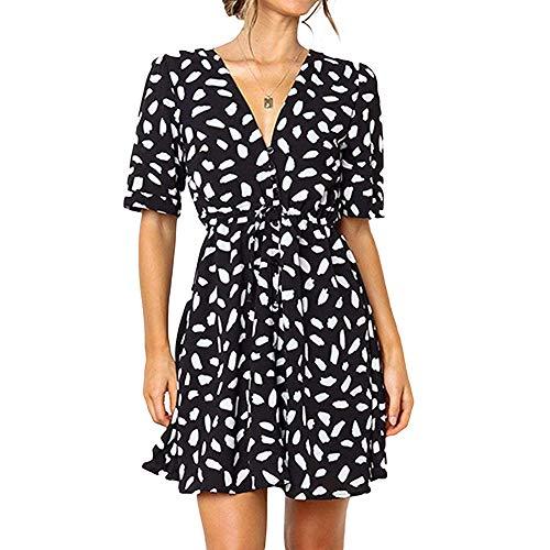 Molysmia Women's Dresses Button Deep V Neck Floral Printed Short Sleeve Drawstring Tie Waist Mini Dress Black ()