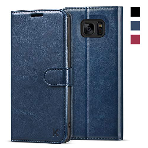 KILINO Galaxy S7 Edge Wallet Case [Shock-Absorbent Bumper] [Card Slots] [Kickstand] [RFID Blocking] Leather Flip Case Compatible with Samsung Galaxy S7 Edge - Blue