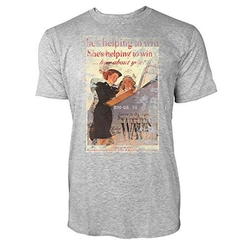 SINUS ART® She is Helping to Win Herren T-Shirts stilvolles hellgraues Cooles Fun Shirt mit tollen Aufdruck