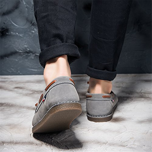 Mens Suede Moccasins Casual Slip On Loafers Flat Driving Shoes Boat Shoes Grey PYoDz88O