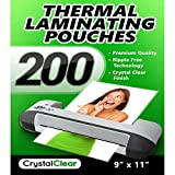 Crystal Clear Thermal Laminating Pouches - Pack of 200 Sheets (9'' x 11.5'')