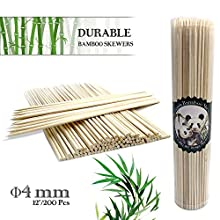"""Skewers,BBQ Skewers,Bamboo Sticks,10""""/12""""-Φ4mm Natural Bamboo Skewers for Fruit,Cocktail,Kabob,Chocolate Fountain,Grilling,Barbecue,Kitchen,Crafting and Barbeque Party"""