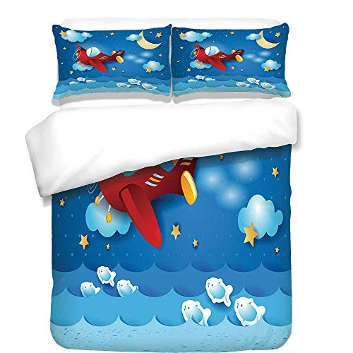 YCHY 3Pcs Duvet Cover Set,Moon,Retro Airplane The Moon and The Stars in The Sky Jumping Fish and Wavy Sea Print,Blue and Yellow,Best Bedding Gifts for Family/Friends