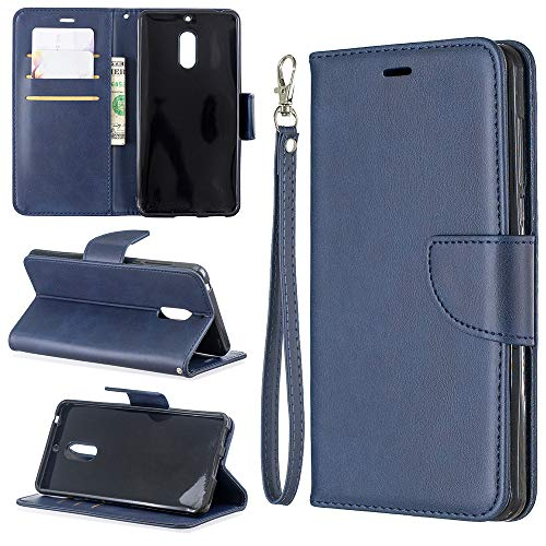 NCTech Flip Cover Folio Case fits Nokia 6 Wallet Case Slim Protective Top Grain Leather Case 239 Slots Card Holder Including Inner Pockets Stand Feature Wristlet for Nokia 6-Blue ()