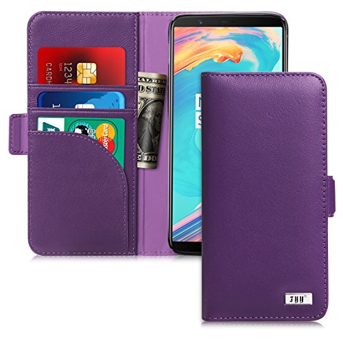 OnePlus 5T Case, FYY [RFID Blocking wallet] Genuine Leather 100% Handmade Wallet Case Credit Card Protector for OnePlus 5T Purple