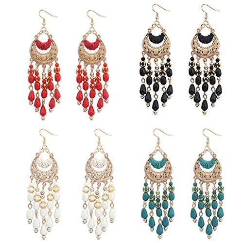 Auwer Tassel Drop Earrings, Bohemian Fringed Long Section Of Big Beads Pendant Drop Earrings (C) (Swarovski Stars Chandelier Crystals)