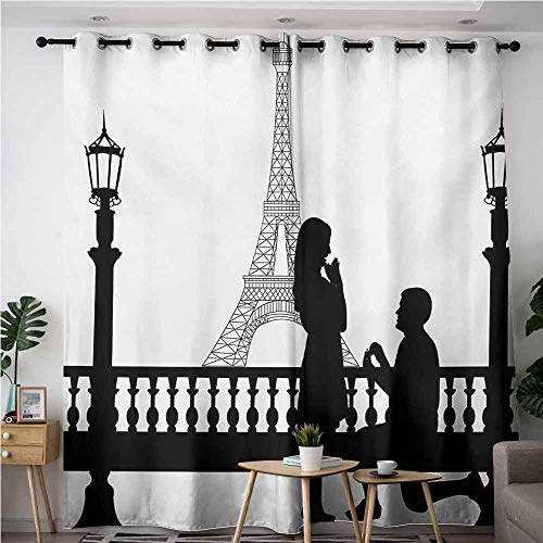 AndyTours Curtains for Bedroom,Engagement Party,Paris Love Valentines City Wedding Proposal Future Happiness Image,Blackout Window Curtain 2 Panel,W84x72L,Black and White]()