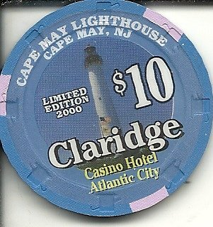 $10 claridge cape may lighthouse casino chip atlantic city new jersey