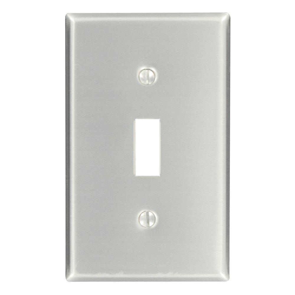 Leviton 83001 1-Gang Toggle Device Switch Wallplate, Standard Size, Device Mount, Aluminum