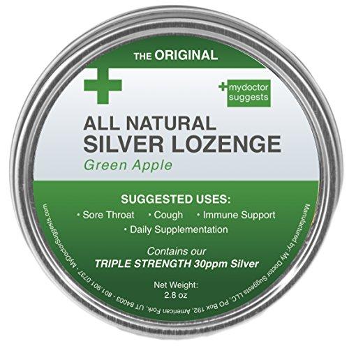 Original All Natural Silver Lozenges - Green Apple, 2.8 (Sore Throat Natural Apple)