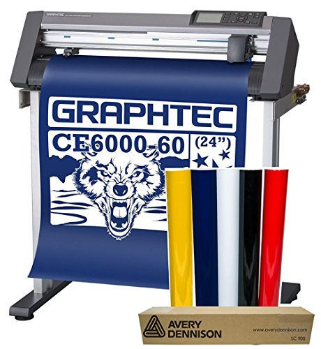 24'' Graphtec CE6000-60 Plus Vinyl Cutter Plotter w/Stand & BONUS 12-Roll Sign Vinyl Pack by Graphtec America, Inc.