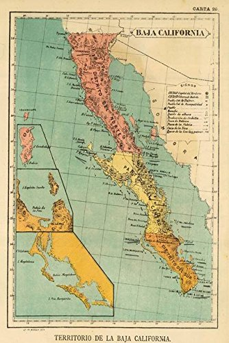 Amazon.com: Imagekind Wall Art Print Entitled Vintage Map of Baja ...
