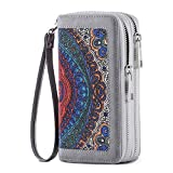 HAWEE Cellphone Wallet Dual Zipper Wristlet Purse with Credit Card Case/Coin Pouch/Smart Phone Pocket Soft Leather for Women or Lady, Grey Floral