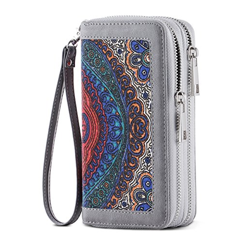 - HAWEE Cellphone Wallet Dual Zipper Wristlet Purse with Credit Card Case/Coin Pouch/Smart Phone Pocket Soft Leather for Women or Lady, Grey Floral