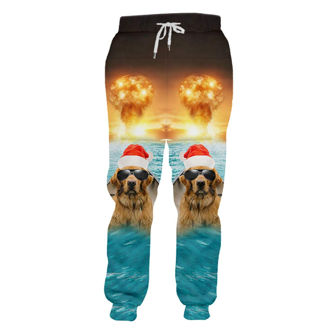 Cuotuzoe 3D Printed Fish and Sunglasses Dog Pants Explosion Background Spandex Fish Dog 4XL