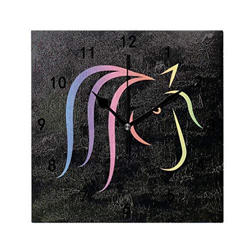 (OMWEED Rainbow Horse Head Clock Wall Mount 7.87