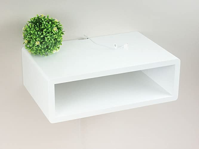 Slim Modern White Floating Nightstand, Wall Mount Bedside Table, Side Table,
