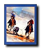 Cowboy Team Roping Western Rodeo Horse Wall Decor Picture Art Print Poster (16x20)
