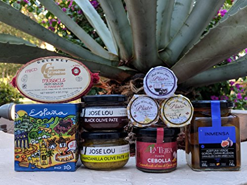 St Miguel Market Food Gift Basket - Chef Ole - ENJOY LIFE, OPEN IT AND HAVE FUN PERFECT FOR WINE LOVERS. ARTISAN JAMS, OLIVE PATES, CARAMELIZED ONIONS WITH PORT & RAISINS, OLIVE FILLED W/FIGS, MUSSELS by Chef Ole Boxes LLC