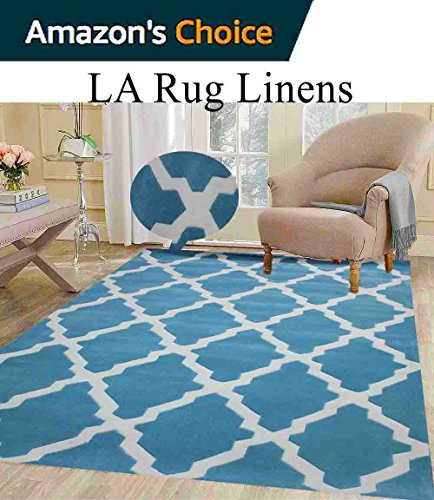 Colorful Turquoise Light Blue Sky Blue White Contemporary Abstract Designer Decorative Hand Tufted 8x10 Bedroom Living Room Indoor Outdoor Rug Throw .5 Inch Thin Pile Height ( Vintage V-009 Turquoise (Capel Rugs Chenille Rug)