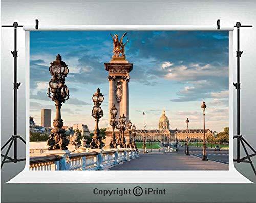 Paris Decor Photography Backdrops Pont Alexandre III Bridge 1896 Spanning The River Seine Ornate Art Nouveau Lamps,Birthday Party Background Customized Microfiber Photo Studio Props,7x5ft,